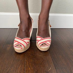 Tory Burch Red and White Striped Wedges